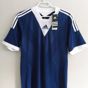 New Adidas blue and white t-shirt. Fits small.